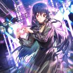 1girl black_dress black_hair black_ribbon black_skirt collarbone commentary_request dress earrings heart heart_hands jewelry long_hair looking_at_viewer official_art red_eyes ribbon ruby_(gemstone) see-through sid_story sila_(carpen) skirt smile stage stage_lights