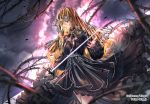 1girl black_dress blonde_hair blue_eyes blurry_foreground closed_mouth cowboy_shot curly_hair dress floating_hair hair_between_eyes holding holding_sword holding_weapon layered_dress long_hair long_sleeves sid_story sila_(carpen) soles standing sword thorns very_long_hair weapon