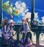 2girls artist_name baseball_cap bicycle black_legwear blue_sky bottle breasts bridge brown_hair closed_eyes clouds commentary day double_bun gen_5_pokemon ground_vehicle hair_bun hat highres leaning_forward long_hair looking_at_another medium_breasts medium_hair mei_(pokemon) minccino miniskirt mu_acrt multiple_girls open_mouth outdoors pantyhose pokemon pokemon_(creature) pokemon_(game) pokemon_bw pokemon_bw2 ponytail reuniclus riding_bicycle skirt sky small_breasts sunlight sweat tank_top touko_(pokemon) twintails vest visor_cap water_bottle wavy_mouth yellow_skirt