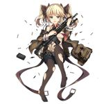 1girl bag bangs bare_shoulders battle_rifle belt bikini bikini_top black_legwear black_ribbon black_shorts blazer blonde_hair blue_eyes blush bow bow_panties breasts brown_jacket buckle bullet closed_mouth clothes_writing collarbone copyright_name detached_collar floating frown full_body girls_frontline gun hair_ornament hair_ribbon headset holding holding_gun holding_weapon jacket jianren knee_up larue_tactical_obr logo long_hair long_sleeves magazine_(weapon) medium_breasts midriff navel necktie no_shoes obr_(girls_frontline) off_shoulder official_art open_blazer open_clothes open_fly open_jacket panties panties_under_pantyhose pantyhose red_neckwear ribbon rifle scope shiny shiny_skin short_shorts shorts shoulder_bag sidelocks solo stomach swimsuit torn_bikini torn_clothes torn_jacket torn_legwear transparent_background twintails underwear weapon white_bikini wide_sleeves