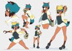 1girl animal_ears arms_up ball bare_legs baseball baseball_cap baseball_mitt black_footwear black_hair black_shirt blue_eyes blue_hair brand_new_animal breasts brown_eyes closed_mouth commentary contrapposto dark_skin english_commentary full_body grey_background hat highres holding holding_ball jacket kagemori_michiru knee_up looking_at_viewer medium_breasts multicolored multicolored_eyes multicolored_hair multiple_views open_clothes open_jacket open_mouth pitcher pitching profile raccoon_ears raccoon_girl raccoon_tail shirt shoes short_hair short_shorts shorts simple_background smile standing standing_on_one_leg symbol_commentary tail thighs two-tone_hair unseriousguy white_jacket white_shorts yellow_headwear