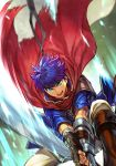 1boy armor blue_eyes blue_hair boots cape fingerless_gloves fire_emblem fire_emblem:_path_of_radiance fire_emblem:_radiant_dawn gloves hankuri headband holding holding_sword holding_weapon ike_(fire_emblem) male_focus muscle pants ragnell simple_background solo sword weapon white_pants