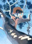 1girl black_hair blue_sky branch clea denim denim_shorts floating_hair hat highres in_tree leaf long_hair looking_at_viewer original shirt shoes shorts sitting sitting_in_tree sky solo straw_hat tree tree_branch white_footwear white_shirt white_tree wide_shot wind