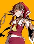 1girl bow brown_eyes brown_hair commentary_request cowboy_shot detached_sleeves gohei hair_bow hair_tubes hakurei_reimu holding long_hair looking_at_viewer orange_background over_shoulder ponytail red_bow red_shirt red_skirt sarashi shirt simple_background skirt smile solo tomo_(touajukou) touhou wide_sleeves yellow_neckwear