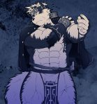 1boy abs animal_ears bara bulge chest ezaki_papiko from_below fur furry greyscale hand_on_shoulder headband highres horkeu_kamui_(tokyo_houkago_summoners) jacket jacket_on_shoulders looking_to_the_side male_focus monochrome muscle nipples pectorals revealing_clothes shirtless simple_background solo sword thighs tokyo_houkago_summoners upper_body vambraces weapon