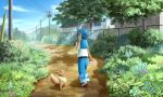 1girl blue_eyes blue_hair blue_pants building bush clouds commentary day doremifa84 eevee feet fence flip-flops flower freckles gen_1_pokemon grass hairband highres holding holding_stick light_rays no_sclera outdoors pants pokemon pokemon_(creature) pokemon_(game) pokemon_sm power_lines sandals scenery shade shirt short_hair sky sleeveless standing stick suiren_(pokemon) sunbeam sunlight swimsuit swimsuit_under_clothes telephone_pole tree trial_captain walking