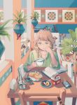 1girl apple aqua_eyes bangs book braid brown_hair cat clea drink earrings food fruit grapes green_shirt holding_drink indoors jewelry leaf long_hair long_sleeves milk_carton open_book original plate shirt sitting solo table white_bag