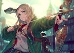 1girl arrow_(projectile) bag belt blonde_hair blurry blurry_background bow bow_(weapon) creature_on_shoulder dragon drawing_bow green_eyes green_jacket highres holding holding_weapon jacket kusano_shinta original sky weapon