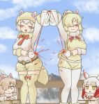 4girls :3 :d alpaca_ears alpaca_huacaya_(kemono_friends) alpaca_suri_(kemono_friends) animal_ear_fluff animal_ears arm_up bangs belt blonde_hair blue_sky blush bow bow_legwear breasts chibi chinese_commentary clapping closed_eyes clouds commentary_request cup day decantering dirty dirty_clothes dual_persona ears_through_headwear empty_eyes eyebrows_visible_through_hair failure feet_out_of_frame fur_collar gradient_hair grey_eyes hair_over_one_eye hat head_wings japanese_crested_ibis_(kemono_friends) kemono_friends large_breasts legwear_under_shorts long_sleeves miji_doujing_daile mountain multicolored_hair multiple_girls o-ring_belt open_mouth outdoors pantyhose pouring railing red_bow redhead shirt short_hair short_shorts shorts sky smile standing sweatdrop tea teapot thigh-highs vest white_legwear white_shirt yellow_eyes yellow_legwear yellow_shorts yellow_vest you're_doing_it_wrong