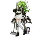 1girl :d alternate_costume apron bangs black_footwear blush breasts bucket calico_m950 clothes_writing collarbone detached_sleeves frills full_body girls_frontline green_hair grey_legwear gun hair_between_eyes hand_on_hip handgun head_tilt high_heels holding holding_gun holding_weapon infukun long_hair looking_at_viewer m950a_(girls_frontline) maid medium_breasts mop official_art open_mouth pistol pouch puffy_sleeves shoulder_cutout sidelocks single_knee_pad skirt smile solo standing standing_on_one_leg transparent_background trigger_discipline twintails wavy_hair weapon yellow_eyes