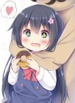 +_+ 1girl 1other absurdres black_hair blue_dress blue_eyes chocolate_doughnut commentary_request doughnut dress drooling esureki eyebrows_visible_through_hair flower food hair_flower hair_ornament heart higero_(wataten) highres holding holding_food hug hug_from_behind long_hair neckerchief open_mouth red_neckwear sailor_dress saliva school_uniform shirosaki_hana shirt simple_background spoken_heart standing star_(symbol) upper_body watashi_ni_tenshi_ga_maiorita! white_background white_shirt