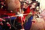 1boy 1girl black_hair black_skirt blue_eyes breasts buttons cardigan coat collared_shirt commentary_request dutch_angle emiya_shirou fate/stay_night fate_(series) gem glint holding homurahara_academy_uniform long_hair looking_at_viewer necktie neckwear nozaki_tsubata red_coat red_neckwear school_uniform serious shirt short_hair skirt tohsaka_rin two_side_up v-shaped_eyebrows
