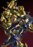 1girl absurdres black_bodysuit black_hair bodysuit breasts glowing highres holding holding_sword holding_weapon impossible_bodysuit impossible_clothes large_breasts long_hair looking_at_viewer mecha muvluv muvluv_alternative muvluv_total_eclipse paintedmike parted_lips pilot_suit shiny shiny_hair shiny_skin sidelocks solo standing sword takamura_yui teeth violet_eyes weapon