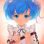 1girl bangs blue_eyes blue_hair blush breasts commentary_request detached_sleeves dot_nose eyebrows_visible_through_hair face hair_ornament hair_over_one_eye hair_ribbon highres holding holding_weapon looking_at_viewer maid maid_headdress neck_ribbon pink_ribbon re:zero_kara_hajimeru_isekai_seikatsu rem_(re:zero) ribbon short_hair smile solo tihoro1609 translation_request weapon x_hair_ornament