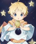 1boy blonde_hair blue_eyes fate/grand_order fate/requiem fate_(series) food fruit highres male_focus sky smile star_(sky) starfruit starry_sky thebrushking voyager voyager_(fate/requiem)