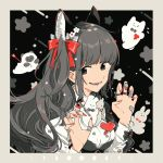1girl animal_ears bandaid bangs black_eyes border bow breasts grey_border grey_hair hair_bow hands_up heart jewelry keishin long_hair long_sleeves moon_phases original outside_border parted_lips red_bow red_nails ring smile solo upper_body white_bow