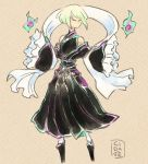 1boy androgynous black_dress cidate dress fire frilled_sleeves frills green_fire green_hair lio_fotia long_sleeves mad_burnish no_mouth off_shoulder ookami_(game) otoko_no_ko parody pleated_dress promare purple_fire short_hair sleeves_past_fingers sleeves_past_wrists solo style_parody