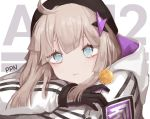 1girl aa-12_(girls_frontline) artist_name beret black_gloves blonde_hair blue_eyes blush candy character_name eyebrows_visible_through_hair food girls_frontline gloves hair_between_eyes hat highres jacket jewelry lollipop long_hair looking_at_viewer necklace seorang solo_focus star_(symbol) star_necklace white_jacket