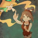 1girl :o arm_up bangs bike_shorts blush bracelet brown_hair clenched_hand commentary_request eyebrows_visible_through_hair finger_touching gen_3_pokemon hadu_eru hairband haruka_(pokemon) jewelry jirachi looking_up mythical_pokemon pokemon pokemon_(creature) pokemon_(game) pokemon_oras red_hairband red_shirt shirt starry_background