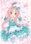 1girl animal_ears apron aqua_dress bow braid brown_eyes clenched_hands commentary_request dress fake_animal_ears hairband heart highres jumping kupuru_(hirumamiyuu) long_hair low_braid low_twintails mimi_(princess_connect!) open_mouth pantyhose paw_pose pink_background pink_hair princess_connect! princess_connect!_re:dive rabbit_ears ribbon smile solo striped striped_background twin_braids twintails waist_apron white_apron white_legwear