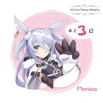 1girl absurdres animal_ears arm_up bandage_over_one_eye bandages blue_eyes character_name commentary_request copyright_name elbow_gloves gloves grin highres hood linmiu_(smilemiku) little_witch_nobeta long_hair monica_(little_witch_nobeta) name_tag object_hug official_art rabbit_ears silver_hair smile solo stuffed_animal stuffed_toy tabard teddy_bear two_side_up upper_body white_gloves white_tabard