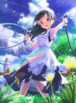 1girl :d abo_(kawatasyunnnosukesabu) black_hair blue_eyes blurry_foreground clothesline commentary dandelion day droplet dual_wielding flower highres holding hose laundry lighthouse long_hair looking_at_viewer maid maid_headdress open_mouth original outdoors rainbow sky smile solo tree water