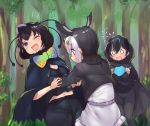 3girls atlantic_puffin_(kemono_friends) bird_girl bird_tail bird_wings black_cape black_fur black_hair black_jacket black_legwear black_shirt black_sweater blue_eyes blue_hair blush bow bowtie cape commentary_request eyebrows_visible_through_hair flying_sweatdrops fur_trim greater_lophorina_(kemono_friends) green_hair head_wings jacket kemono_friends leggings long_sleeves multicolored_hair multiple_girls one_eye_closed orange_hair shirt short_hair short_sleeves skirt sweater tadano_magu western_parotia_(kemono_friends) white_hair white_shirt white_skirt wings