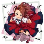 1girl asanaya bat blush brown_hair claw_pose commentary_request dress fang fingerless_gloves garter_straps gloves hair_ornament highres idolmaster idolmaster_million_live! idolmaster_million_live!_theater_days long_hair looking_at_viewer minase_iori my_dear_vampire nail_polish open_mouth puffy_short_sleeves puffy_sleeves red_eyes red_footwear red_nails shoes short_sleeves smile thigh-highs tongue