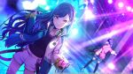 2girls azusawa_kohane backwards_hat black_hair blonde_hair commentary earrings gradient_hair hair_ornament hairclip hat headphones headphones_around_neck jacket jewelry letterman_jacket long_hair multicolored_hair multiple_girls official_art open_clothes open_jacket project_sekai shiraishi_an short_twintails smile solo_focus star_(symbol) star_earrings twintails yellow_eyes