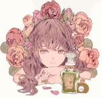 1girl bangs bottle brown_hair closed_mouth commentary_request eyebrows_behind_hair flower grey_background grey_eyes hair_between_eyes highres jewelry long_hair looking_at_viewer nail_polish original perfume_bottle pink_nails qooo003 red_flower red_rose ring rose simple_background solo upper_body