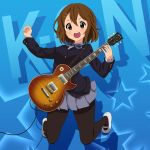 1girl absurdres asanaya bangs black_legwear blue_background brown_eyes brown_hair buttons commentary_request electric_guitar grey_skirt guitar hair_ornament hairclip hand_up highres hirasawa_yui holding holding_plectrum instrument k-on! open_mouth pantyhose pleated_skirt plectrum school_uniform shoes short_hair skirt solo teeth tongue upper_teeth