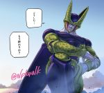 1boy arm_on_knee artist_name cell_(dragon_ball) clouds commentary_request day dragon_ball dragon_ball_z hand_on_hip looking_to_the_side male_focus naomi_(nplusn) outdoors parted_lips perfect_cell pink_eyes sky smile solo speech_bubble teeth translated