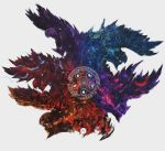 air alatreon avatar_(series) battle dragon fantasy fire highres horns ice monster monster_hunter monster_hunter:_world no_humans open_mouth shimhaq simple_background solo symbol teeth thunder water