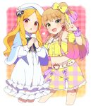 2girls :o bangs bare_shoulders blonde_hair blue_capelet blush bow capelet character_request checkered checkered_background commentary_request detached_sleeves eyebrows_visible_through_hair fangs green_eyes hair_bow hair_ornament hairclip hat heart idolmaster idolmaster_cinderella_girls jougasaki_rika long_sleeves looking_at_viewer moyori multicolored multicolored_clothes multicolored_skirt multiple_girls navel parted_bangs pink_background pink_bow pink_hair pink_skirt red_eyes red_nails short_sleeves skirt white_background white_headwear yellow_bow yellow_skirt