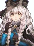 1girl amripo animal_ear_fluff animal_ears arknights bangs black_capelet black_gloves blue_jacket braid capelet chromatic_aberration commentary_request fur-trimmed_capelet fur_trim gloves grey_eyes hand_up hat highres jacket leopard_ears long_hair looking_at_viewer parted_lips pramanix_(arknights) silver_hair simple_background solo twin_braids upper_body white_background