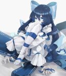 1girl absurdres barefoot black_hair blue_eyes bow doll doll_joints dress expressionless feet highres huge_filesize joints kase_(kurimuzone_oruta) knees_to_chest knees_up leg_hug legs little_witch_nobeta long_hair pale_skin ribbon self_hug sitting sleeves_past_wrists solo tania_(little_witch_nobeta) toes white_dress