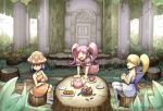 3girls :d basket blonde_hair blue_hair candy commentary_request cup dress food gdgd_fairies grass holding holding_cup korokoro looking_to_the_side multiple_girls open_mouth orange_dress outdoors pikupiku pink_eyes pink_hair ponytail saucer shirushiru sitting smile socks striped striped_legwear tea_party teacup teapot thigh-highs tied_hair tongue tree_trunk twintails yuuru