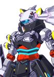 blue_eyes close-up from_side glowing glowing_eye kaguya_luna looking_ahead mecha mechanization no_humans sukekiyo56 the_moon_studio virtual_youtuber visor white_background