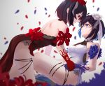 2girls backless_dress backless_outfit bare_shoulders black_hair blue_eyes blue_flower blue_gloves blue_hair blurry blurry_foreground blush depth_of_field dress eye_contact flower gloves hair_flower hair_ornament hair_ribbon halter_dress highres holding_hands honkai_(series) honkai_impact_3rd looking_at_another multicolored_hair multiple_girls petals red_eyes red_flower red_gloves redhead ribbon seele_(alter_ego) seele_vollerei seele_vollerei_(stygian_nymph) side_slit smile sprygon thigh_strap two-tone_hair white_flower