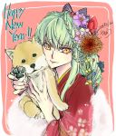 2018 bag bow braid c.c. closed_mouth code_geass dated eyebrows_visible_through_hair floral_print green_hair hair_between_eyes hair_bow happy_new_year holding_dog japanese_clothes kimono long_hair looking_at_viewer new_year print_kimono red_background red_kimono roman_buriki signature smile striped tied_hair very_long_hair yellow_eyes