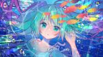 1girl air_bubble aqua_hair blue_background blue_eyes bubble hand_up hatsune_miku kawanobe long_hair looking_at_viewer school_of_fish solo tropical_fish underwater upper_body vocaloid