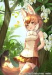 1girl :d animal_ear_fluff animal_ears arms_behind_back bangs bare_arms bare_shoulders beamed_eighth_notes blush breasts brown_eyes brown_hair brown_legwear brown_skirt commentary_request company_name cowboy_shot day dhole_(kemono_friends) dog_ears dog_girl dog_tail eighth_note eyebrows_visible_through_hair flower forest fur_collar kemono_friends_3 light_rays medium_breasts miniskirt multicolored_hair music musical_note nature ne-on official_art open_mouth outdoors plant pleated_skirt shirt short_hair singing skirt sleeveless sleeveless_shirt smile solo sunbeam sunlight tail tree two-tone_hair two-tone_shirt white_flower white_hair zipper