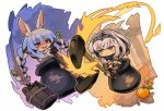 2girls :3 animal_ear_fluff animal_ears bangs black_gloves blue_hair blush bow braid bucket carrot_hair_ornament cauldron chibi closed_mouth commentary_request detached_sleeves don-chan_(hololive) eyebrows_visible_through_hair fingerless_gloves food food_themed_hair_ornament fruit fur-trimmed_gloves fur_trim getting_over_it gloves green_eyes grey_hair hair_bow hair_ornament headpiece holding hololive in_cauldron in_pot itsuki_tasuku multicolored_hair multiple_girls orange puffy_short_sleeves puffy_sleeves rabbit_ears red_eyes shaded_face shirogane_noel short_eyebrows short_sleeves sledgehammer smirk tears thick_eyebrows twin_braids twintails two-handed two-tone_hair usada_pekora v-shaped_eyebrows vambraces virtual_youtuber white_bow white_hair white_sleeves