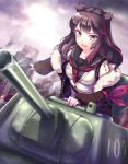 1girl animal_ears arknights bear_ears black_hair black_jacket blue_eyes burning cardigan cityscape commentary fang fur-trimmed_jacket fur_trim ground_vehicle hand_up highres holding holding_weapon jacket long_hair long_sleeves military military_vehicle motor_vehicle multicolored_hair neckerchief off_shoulder open_mouth rock.fc sailor_collar school_uniform smoke solo streaked_hair t-34 tank twintails upper_body weapon white_cardigan zima_(arknights)