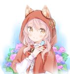 1girl animal animal_ear_fluff animal_ears bangs bird bluebird blush brown_eyes capelet closed_mouth commentary_request day eyebrows_visible_through_hair flower hair_between_eyes hand_up hood hood_up hooded_capelet hydrangea long_sleeves original outdoors pink_flower pink_hair purple_flower rain red_capelet shirt sleeves_past_wrists smile solo upper_body wataame27 white_shirt wolf-chan_(wataame27) wolf_ears