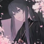 1girl bangs black_hair black_kimono blurry blurry_foreground closed_mouth commentary_request depth_of_field eyebrows_visible_through_hair flower grey_eyes hair_between_eyes japanese_clothes katana kimono long_hair looking_away original petals pink_flower pixiv_id ponytail sidelocks smile solo sword upper_body weapon yuizayomiya