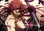 1boy bara blood bloody_clothes chest fighting_stance japanese_clothes long_hair looking_at_viewer male_focus moya_moyashi2 muscle polearm ponytail purple_hair redhead sideburns simple_background solo tonbokiri tonbokiri_(touken_ranbu) toned toned_male touken_ranbu weapon yellow_eyes