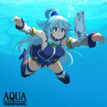 1girl absurdres album_cover aqua_(konosuba) bangs bare_shoulders blue_eyes blue_footwear blue_hair blue_shirt blue_skirt boots bow bowtie breasts breasts_apart closed_mouth cover detached_sleeves green_neckwear hair_between_eyes hair_ornament hair_rings high_heel_boots high_heels highres kono_subarashii_sekai_ni_shukufuku_wo! miniskirt momio money nevermind nirvana_(band) outstretched_arms parody pout shirt skirt sleeveless sleeveless_shirt solo thigh-highs thigh_boots thighs unaligned_breasts underwater yen