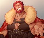 1boy armor bara beard cape chest cleavage_cutout closed_eyes facial_hair facing_viewer fate/grand_order fate/zero fate_(series) fur_collar gradient gradient_background highres iskandar_(fate) leather m0m030m male_focus manly muscle pectorals redhead shiny shiny_hair smile solo upper_body veins wrinkles