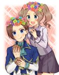 1boy 1girl :d :q ascot blouse blue_eyes blue_jacket blue_neckwear bow bowtie brooch brother_and_sister brown_hair collared_blouse commentary_request food genderswap genderswap_(ftm) genderswap_(mtf) haruta_(haru_chi) head_wreath highres holding holding_food jacket jewelry katarina_claes keith_claes light_brown_hair long_sleeves looking_at_another medium_hair miniskirt muffin open_mouth otome_game_no_hametsu_flag_shika_nai_akuyaku_reijou_ni_tensei_shite_shimatta pleated_skirt purple_blouse purple_neckwear purple_skirt short_hair siblings sitting skirt smile standing step-siblings tongue tongue_out twintails